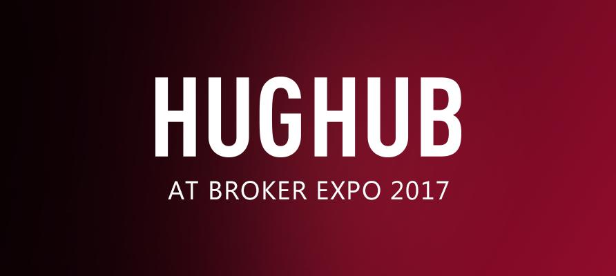 Hughub logo on red background