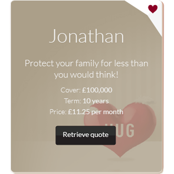 Personalised family insurance advert example for Jonathan
