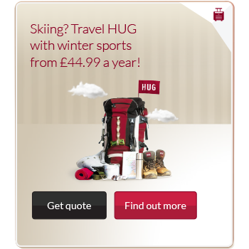 Travel insurance advert with image of a rucksack