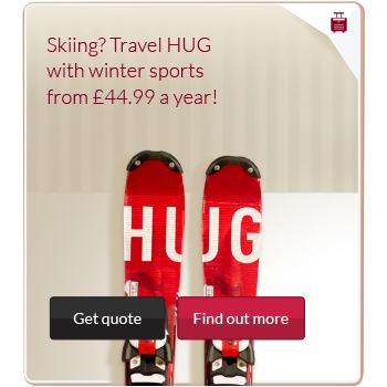 Travel insurance advert with image of Skis