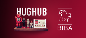 HUGHUB and the BIBA logo on a wall