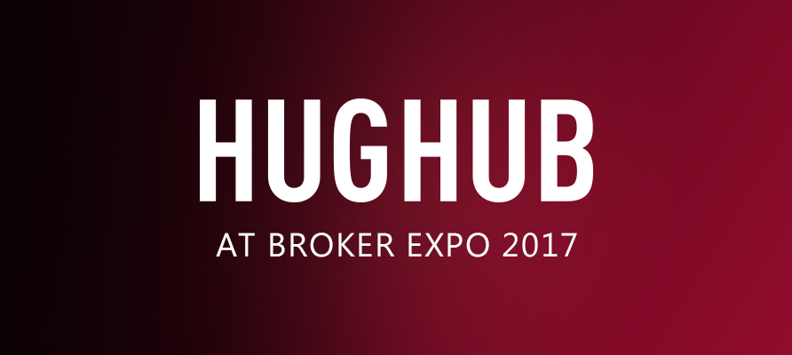 Hughub logo on red background